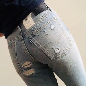 🆕 levi's | 501 skinny patchwork distressed denim